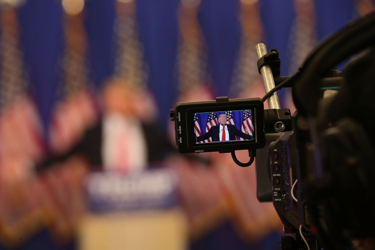 Republican presidential candidate Donald Trump is seen in a television cameras view finder during a press conference at the Trump National Golf Club Jupiter on March 8, 2016 in Jupiter, Fla. (Photo by Joe Raedle/Getty)