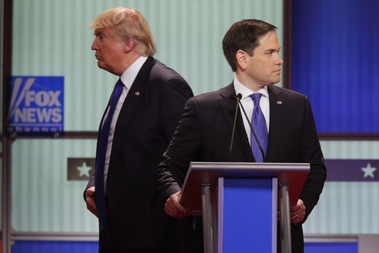 Republican presidential candidates Donald Trump and Sen. Marco Rubio (R-FL) participate in a debate sponsored by Fox News at the Fox Theatre on March 3, 2016 in Detroit, Mich. (Photo by Chip Somodevilla/Getty)