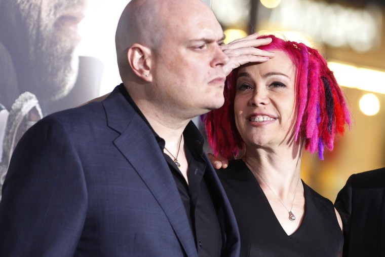Lily Wachowski, formerly Andy Wachowski, and sister Lana Wachowski at Grauman's Chinese theatre in Hollywood, Calif. on Oct. 24, 2012. (Photo by Fred Prouser/Reuters)