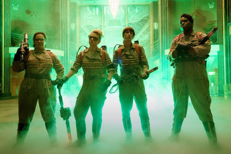 The new Ghostbusters line up inside the Mercado Hotel Lobby. (Photo by Hopper Stone/Sony Pictures/EPK)