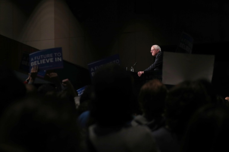 Democratic presidential candidate Senator Bernie Sanders speaks to supporters on the night of the Michigan, Mississippi and other primaries at his campaign rally in Miami, Fla., March 8, 2016. (Photo by Carlo Allegri/Reuters)