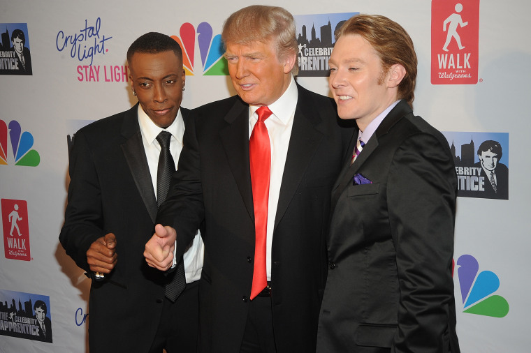 """Arsenio Hall, Donald Trump and Clay Aiken attend the """"Celebrity Apprentice"""" Live Finale at American Museum of Natural History on May 20, 2012 in New York City. (Photo by Brad Barket/Getty)"""