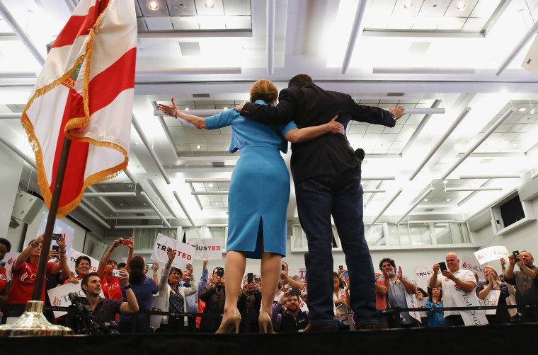 Former Republican presidential candidate Carly Fiorina joins Republican presidential candidate, Sen. Ted Cruz, R-Texas during a campaign rally in Miami, Fla., March 9, 2016. (Photo by Paul Sancya/AP)