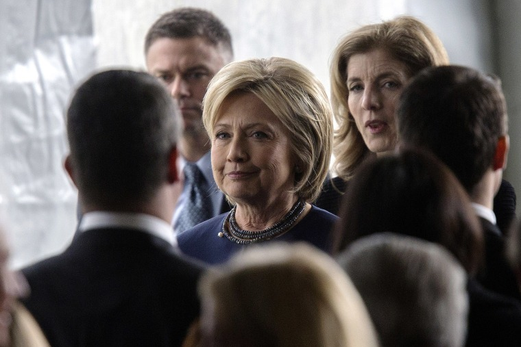 Hillary Clinton follows the casket during funeral and burial services for former first lady Nancy Reagan at the Ronald Reagan Presidential Library on March 11, 2016 in Simi Valley, Calif. (Photo by David McNew/Getty)