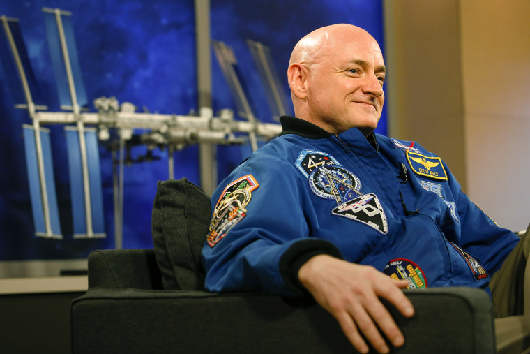 NASA Astronaut Scott Kelly speaks to the media after returning from space, at the Johnson Space Center March 4, 2016 in Houston, Texas. (Photo by Eric Kayne/Getty)
