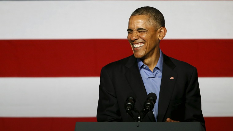 President Barack Obama smiles during remarks at a Democratic National Committee event in Austin, Texas, March 11, 2016. (Photo by Jonathan Ernst/Reuters)
