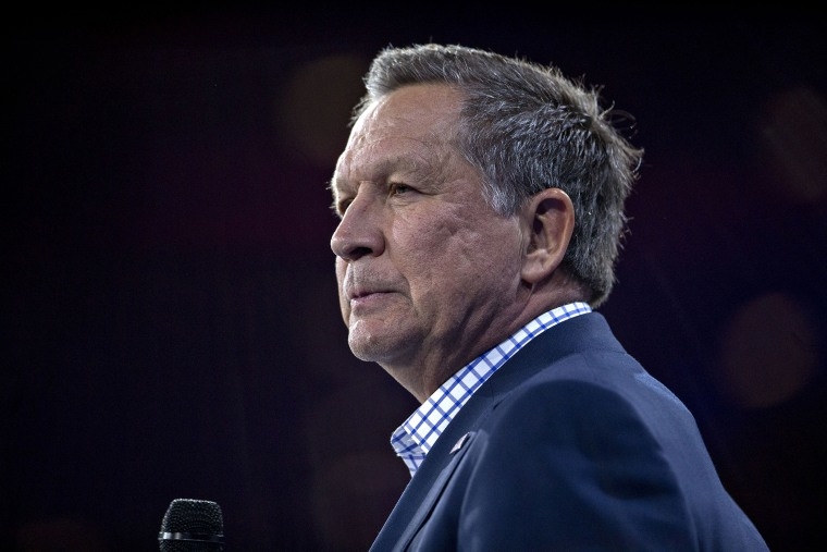 John Kasich, governor of Ohio and 2016 Republican presidential candidate, listens during an interview at the CPAC meeting in National Harbor, Md., March 4, 2016. (Photo by Andrew Harrer/Bloomberg/Getty)