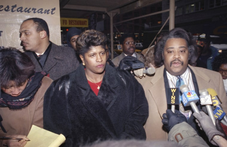 The Rev. Al Sharpton is joined by Thelma Pannell as they talk to reporters in New York, Feb. 14, 1992, concerning the acquittal of a police officer in the shooting death of Pannell's son in 1990. (Photo by Ed Bailey/AP)