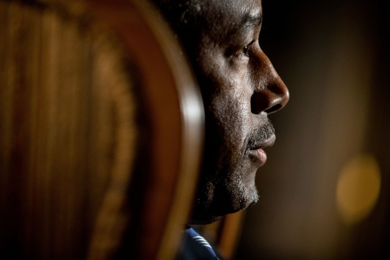 Dr. Ben Carson speaks during an interview with The Associated Press in his home in Upperco, Md., Dec. 23, 2015. (Photo by Andrew Harnik/AP)