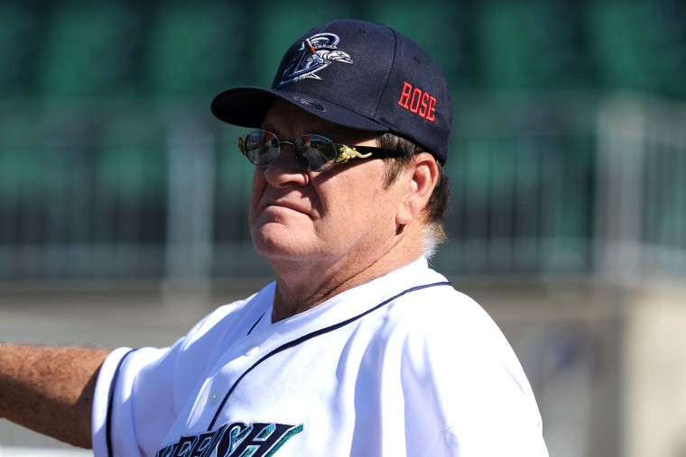 Former Major League Baseball player Pete Rose looks on during batting practice prior to managing the game for the Bridgeport Bluefish at The Ballpark at Harbor Yard on June 16, 2014 in Bridgeport, Conn. (Photo by Christopher Pasatieri/Getty)