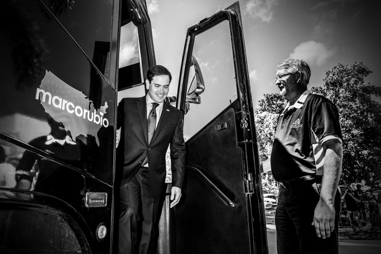 Senator Marco Rubio arrives for a press conference at Temple Beth EL in West Palm Beach, Fl., March 11, 2016. (Photo by Mark Peterson/Redux for MSNBC)