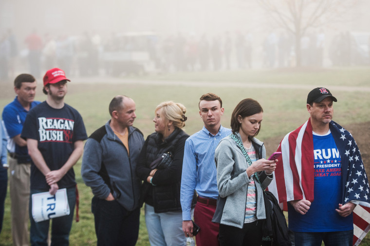 Donald Trump supporters wait in line before a campaign rally for the Republican presidential candidate at Lenoir-Rhyne University March 14, 2016 in Hickory, N.C. (Photo by Sean Rayford/Getty)