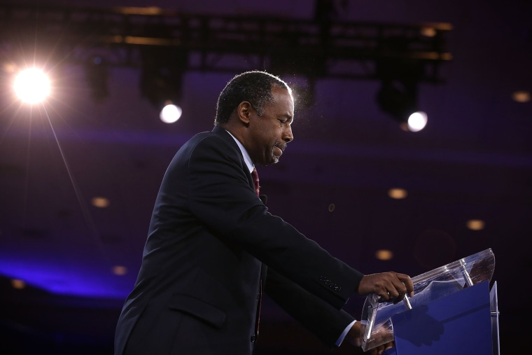 Republican presidential candidate Ben Carson speaks during CPAC 2016 March 4, 2016 in National Harbor, Md. (Photo by Alex Wong/Getty)