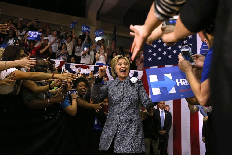 Democratic presidential candidate former Secretary of State Hillary Clinton greets supporters during a Get Out the Vote event at Grady Cole Center on March 14, 2016 in Charlotte, N.C. (Photo by Justin Sullivan/Getty)
