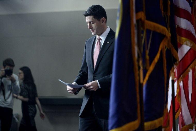 House Speaker Paul Ryan arrives to his weekly briefing at the U.S Capitol on Feb. 11, 2016 in Washington, D.C. (Photo by Olivier Douliery/Getty)