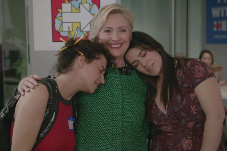 Ilana Glazer, Hillary Clinton and Abbi Jacobson in a scene on Broad City. (Photo by Comedy Central)