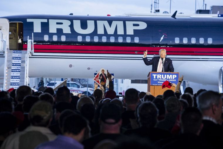 Republican presidential candidate Donald Trump speaks to supporters at Youngstown Airport on March 14, 2016 in Vienna, Ohio. (Photo by Angelo Merendino/Getty)