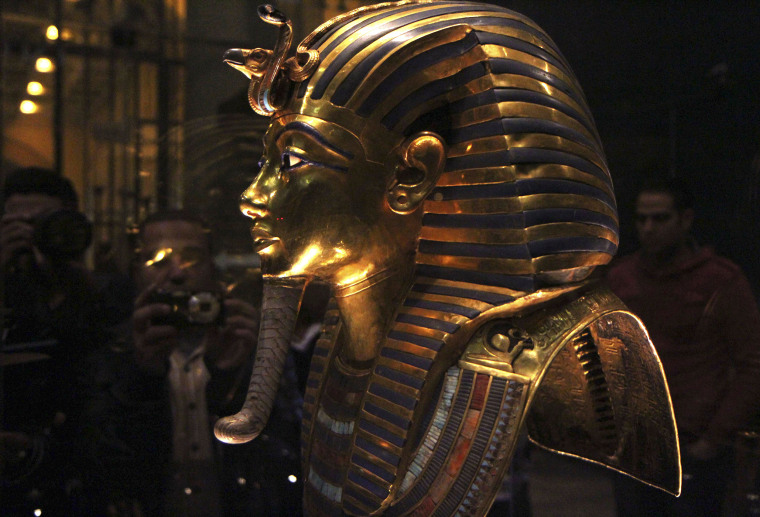The golden mask of Pharaoh Tutankhamen is seen on display at the Egyptian Museum in Cairo, Jan. 24, 2015. (Photo by Al Youm/Al Saabi Newspaper/Reuters)