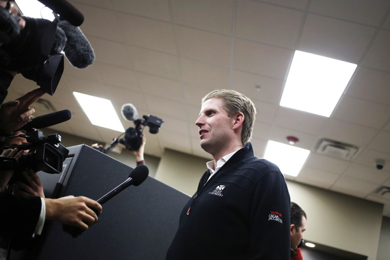 Eric Trump speaks to members of the media during a campaign event at CrossRoads Shooting Sports in Johnston, Iowa on Jan. 30, 2016. (Photo by Luke Sharrett/Bloomberg/Getty)
