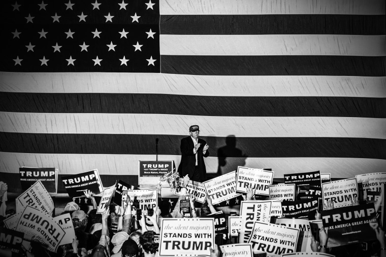 Republican presidential candidate Donald Trump is pictured at a rally in Boca Raton, Fla., on March 13, 2016. (Photo by Mark Peterson/Redux for MSNBC)