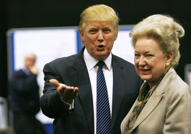 Donald Trump with his sister Maryanne Trump Barry, during a break in proceedings of the Aberdeenshire Council inquiry into his plans for a golf resort, Aberdeen, northeast Scotland June 10, 2008. (Photo by David Moir/Reuters)