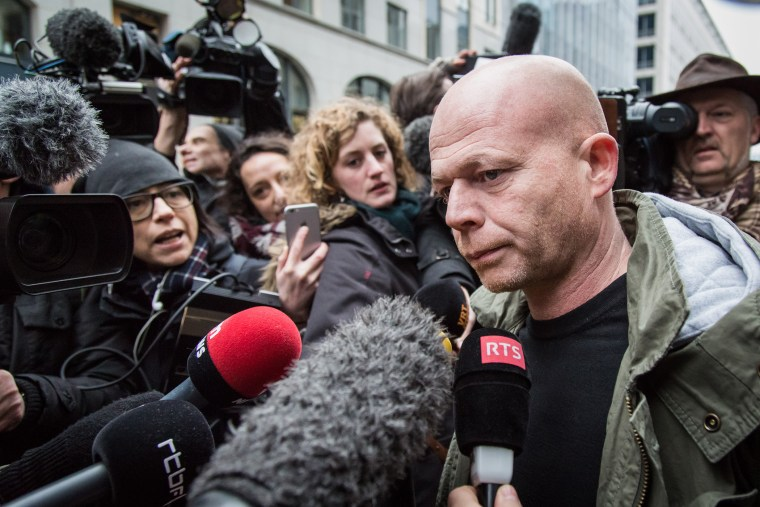 Sven Mary, Belgian lawyer of Paris attacks suspect Salah Abdeslam, talks to the media outside the building of the Federal Police in Brussels, on March 19, 2016. (Photo by Aurore Belot/AFP/Getty)