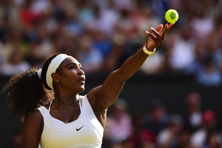 Serena Williams serves in her Ladies Singles Third Round match during day five of the Wimbledon Lawn Tennis Championships at the All England Lawn Tennis and Croquet Club on July 3, 2015 in London, England. (Photo by Shaun Botterill/Getty)