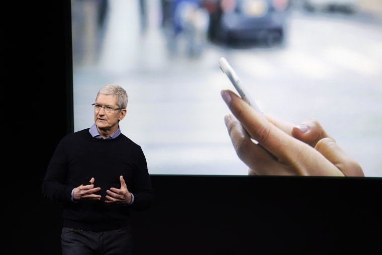 Apple CEO Tim Cook speaks at an event to announce new products at Apple headquarters, March 21, 2016, in Cupertino, Calif. (Photo by Marcio Jose Sanchez/AP)