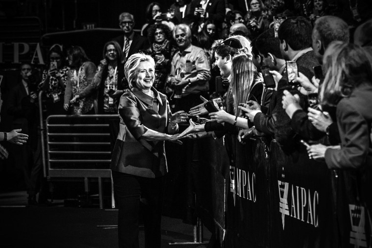 Democratic presidential candidate Hillary Clinton greets the crowd before delivering remarks at the American Israel Political Action Committee Policy Conference in Washington, D.C., on March 21, 2016. (Photo by Mark Peterson/Redux for MSNBC)