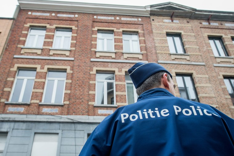 Belgium police are pictured in in the Molenbeek neighborhood of Brussels, Belgium, March 19, 2016. (Photo by Stephanie Lecocq/EPA)