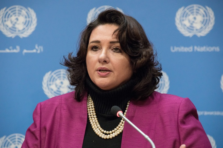 Helena Dalli speaks with the press during a briefing at UN Headquarters in New York, N.Y. on Feb. 11, 2016. (Photo by Albin Lohr-Jones/Pacific Press/LightRocket/Getty)