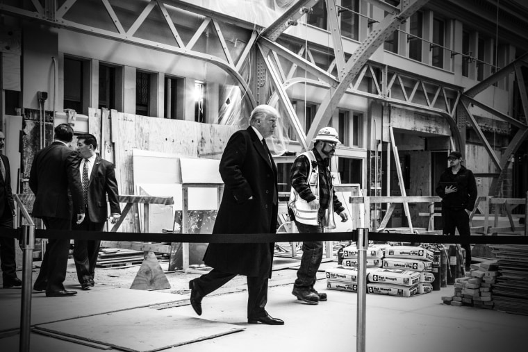 Donald Trump holds a news conference at his hotel which is under construction in Washington, DC, March 21, 2016.