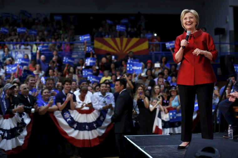 Democratic U.S. presidential candidate Hillary Clinton speaks at a campaign rally at Carl Hayden Community High School in Phoenix, Ariz., March 21, 2016. (Photo by Mario Anzuoni/Reuters)