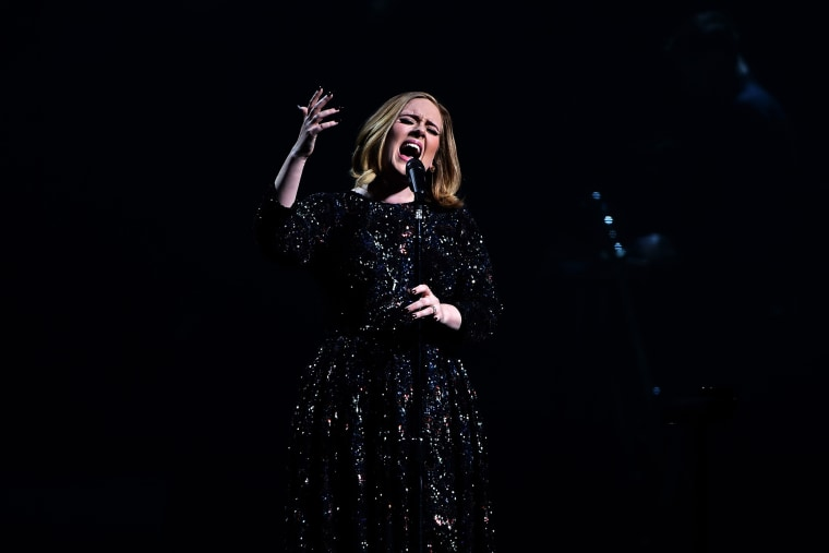 Adele performs on stage at the at 3Arena Dublin on March 4, 2016 in Dublin, Ireland. (Photo by Gareth Cattermole/Getty)