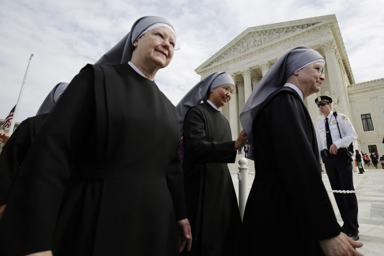Nuns with Little Sisters of the Poor depart after Zubik v. Burwell was heard by the U.S. Supreme Court in Washington March 23, 2016. (Photo by Joshua Roberts/Reuters)