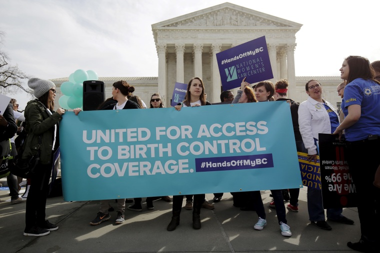 Supporters of contraception rally before Zubik v. Burwell is heard by the U.S. Supreme Court in Washington March 23, 2016. (Photo by Joshua Roberts/Reuters)