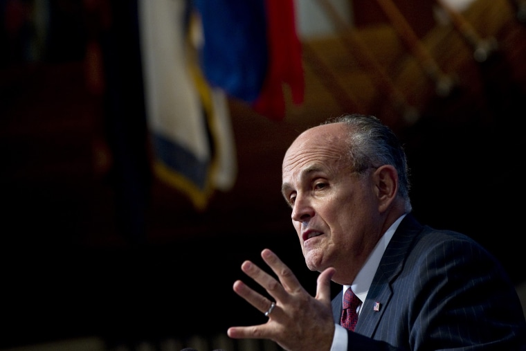 Former New York City Mayor Rudy Giuliani speaks during an event at the National Press Club in Washington, D.C., on Sept. 6, 2011. (Photo by Saul Loeb/AFP/Getty)