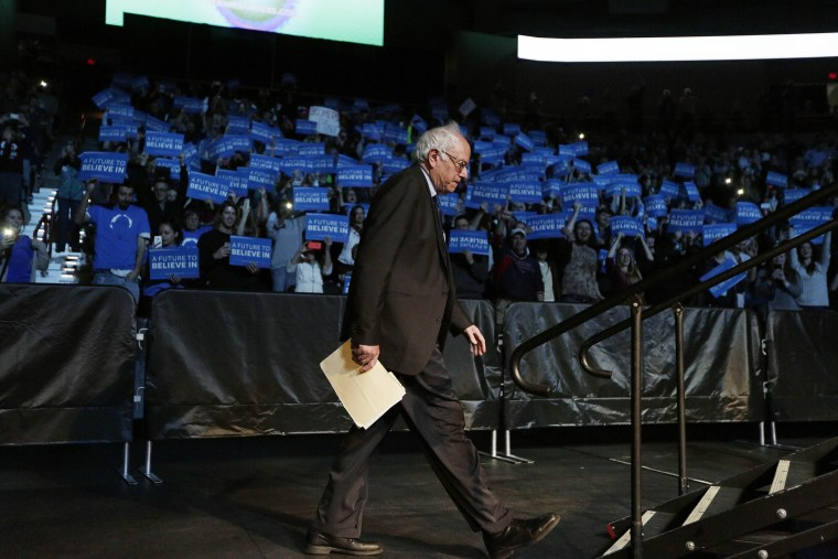 Democratic presidential candidate Sen. Bernie Sanders, I-Vt., walks onto the stage to speak at a campaign rally in Spokane, Wash., March 24, 2016. (Photo by Young Kwak/AP)