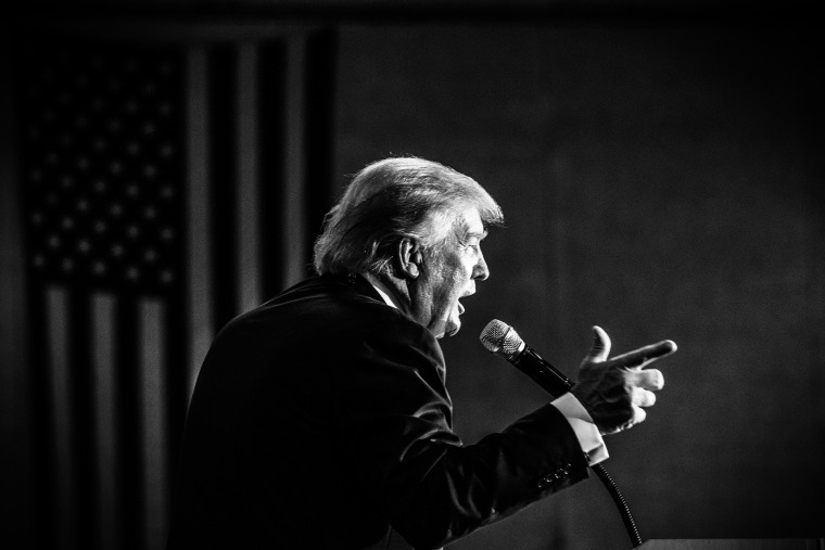 Republican presidential candidate Donald Trump speaks during a town hall event in Rochester, N.H., Sept. 17, 2015. (Photo by Mark Peterson/Redux for MSNBC)