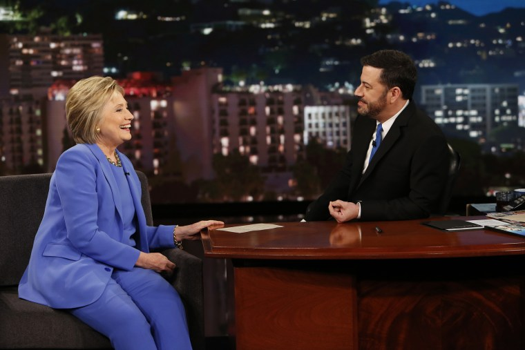 """""""Jimmy Kimmel Live"""" featured presidential candidate Hillary Clinton on March 24, 2016. (Photo by Randy Holmes/ABC/Getty)"""
