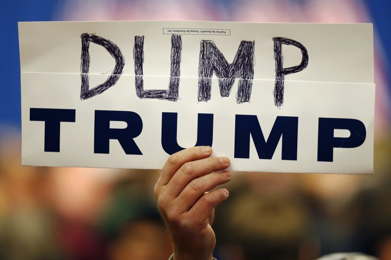 """Walter Skold of Freeport, Maine, holds a """"Dump Trump"""" sign at a campaign stop for the Republican presidential candidate, March 3, 2016, in Portland, Maine. (Photo by Robert F. Bukaty/AP)"""