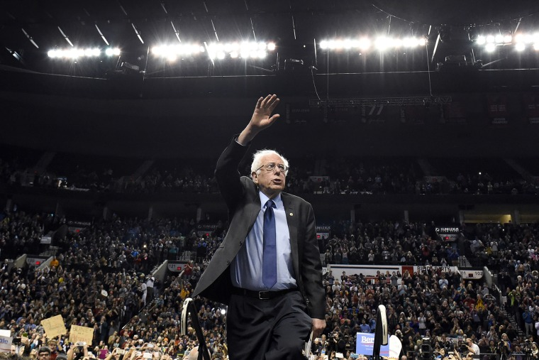 Democratic presidential candidate Bernie Sanders, I-Vt., arrives for a rally at the Moda Center in Portland, Ore., March 25, 2016. (Photo by Steve Dykes/AP)
