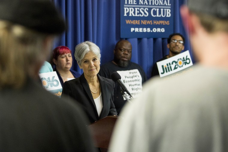Jill Stein takes questions after announcing that she will seek the Green Party's presidential nomination, at the National Press Club on June 23, 2015 in Washington, DC. (Photo by Drew Angerer/Getty)