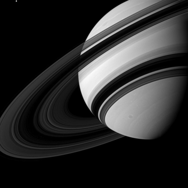 Saturn's B ring is the most opaque of the main rings, appearing almost black in this Cassini image taken from the unlit side of the ringplane.