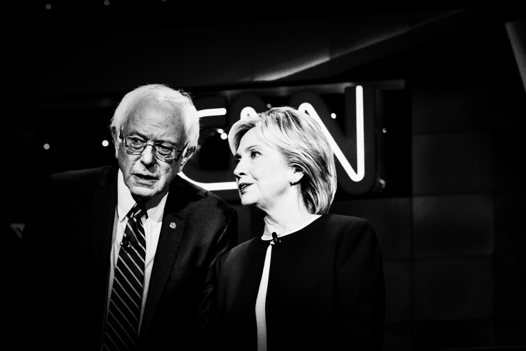 Sen. Bernie Sanders and former Secretary of State Hillary Clinton on stage at the first Democratic Presidential debate at the Wynn Las Vegas resort and casino on Oct. 12, 2015 in Las Vegas, Nev. (Photo by Mark Peterson/Redux for MSNBC)