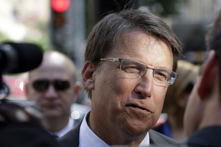 In this Sept. 10, 2014, file photo, North Carolina Gov. Pat McCrory speaks to members of the media in Raleigh, N.C. (Photo by Gerry Broome/AP)