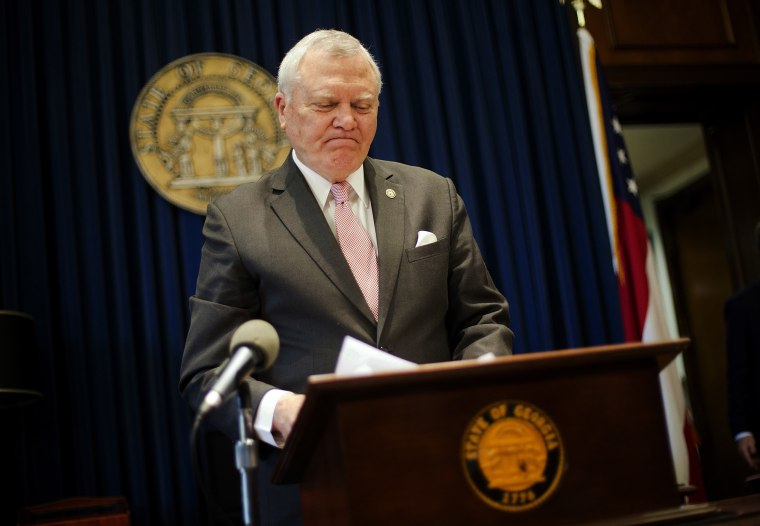 Georgia Gov. Nathan Deal speaks during a press conference as he announces he has vetoed legislation allowing clergy to refuse performing gay marriage and protecting people who refuse to attend the ceremonies, March 28, 2016. (Photo by David Goldman/AP)