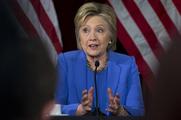 Democratic presidential candidate Hillary Clinton speaks during a roundtable with Muslim community leaders at the University of Southern California in Los Angeles, March 24, 2016. (Photo by Carolyn Kaster/AP)