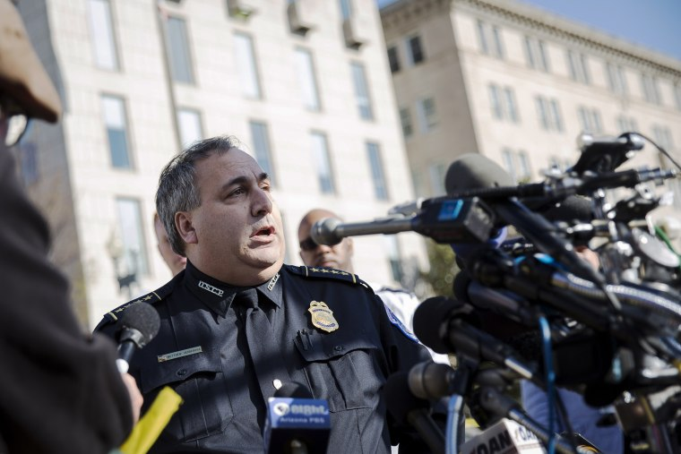 Capitol Chief of Police Matthew Verderosa speaks to the media near the Capitol March 28, 2016 in Washington, DC. (Photo by Drew Angerer/Getty)