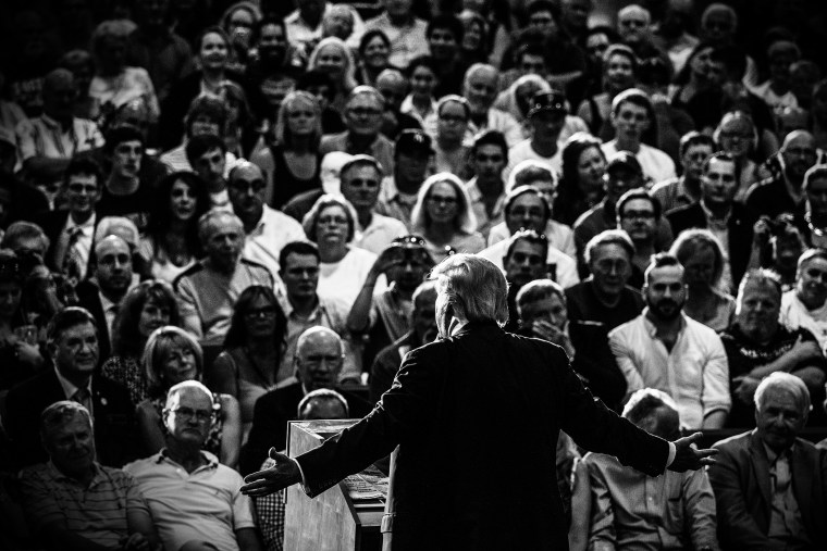 Donald Trump speaks at a town hall event in Rochester, N.H. on Sept. 17, 2015. (Photo by Mark Peterson/Redux for MSNBC)